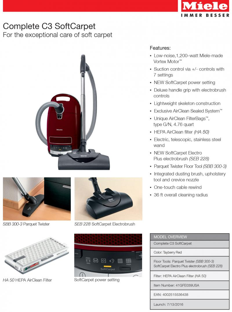 New SoftCarpet canister vacuum